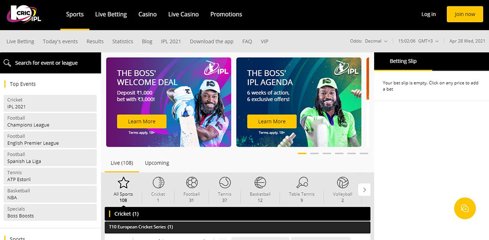 10cric Sports Betting in India