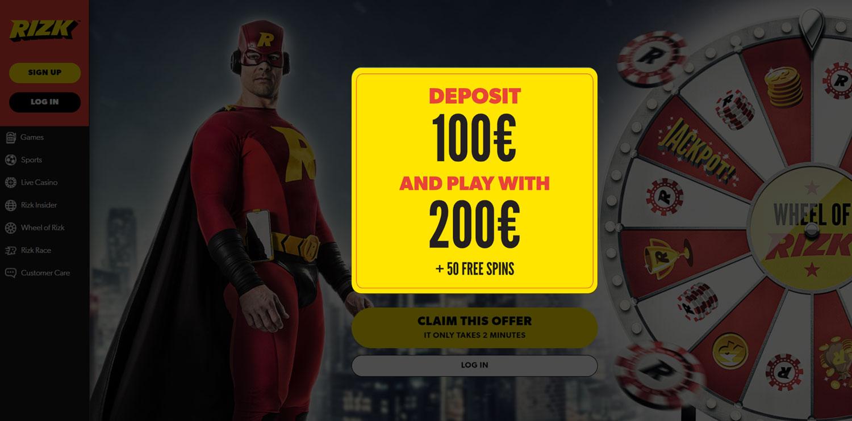 Rizk bonuses page.