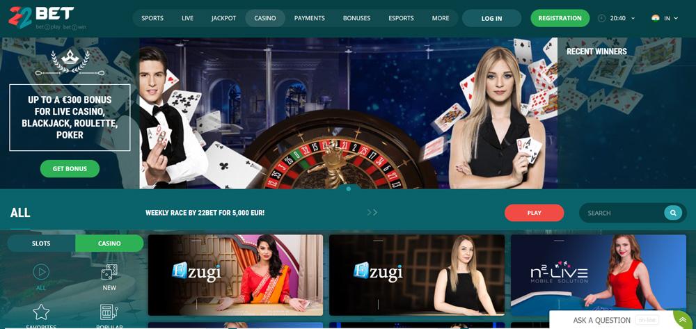 22bet casino games.