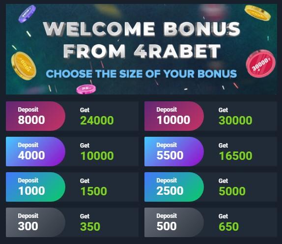 4rabet welcome bonus