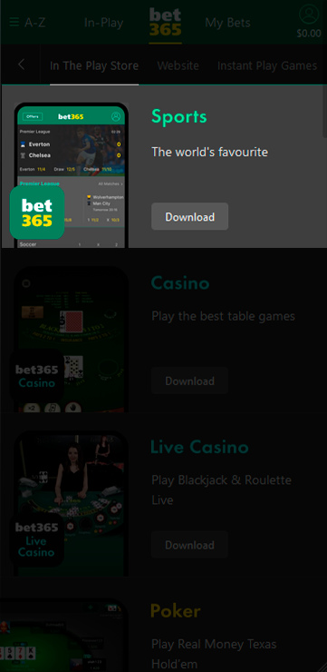 bet365 mobile app.