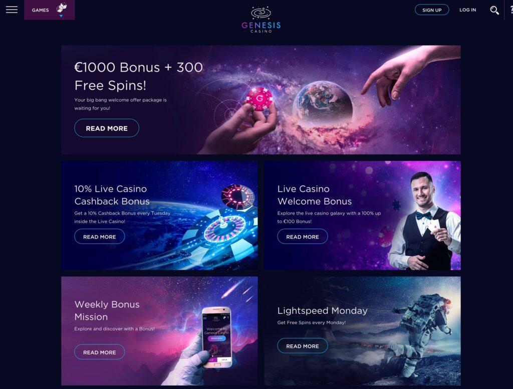 The genesis casino bonus page.