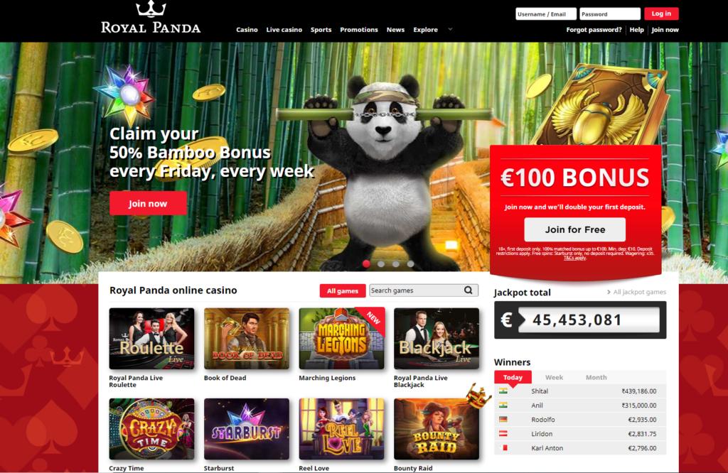 Bonuses at Royal Panda.