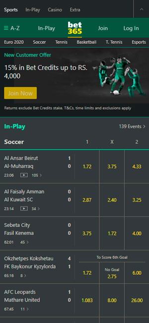 Bet365 main page on mobile
