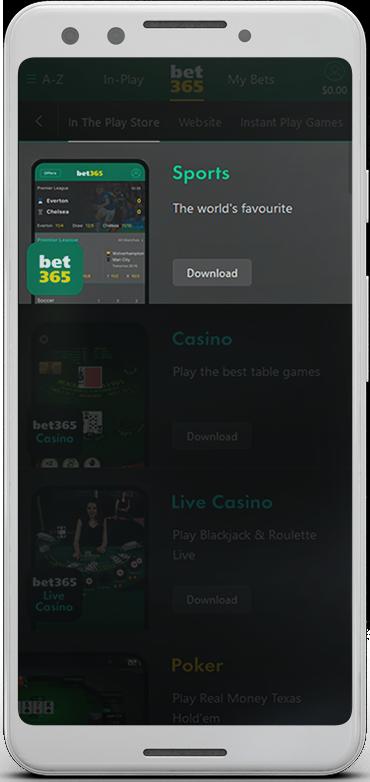 Download the bet365 sport app.