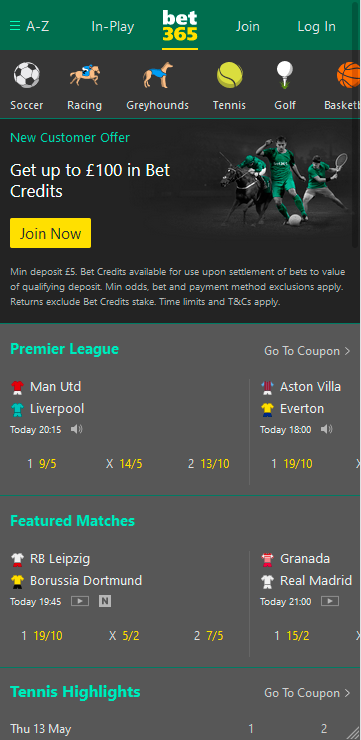 bet365 mobile main page.