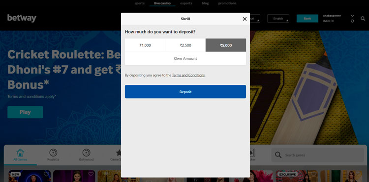 enter the right amount of money for skrill depositing .