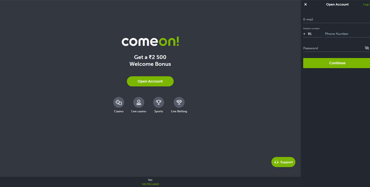 Main page of comeon.
