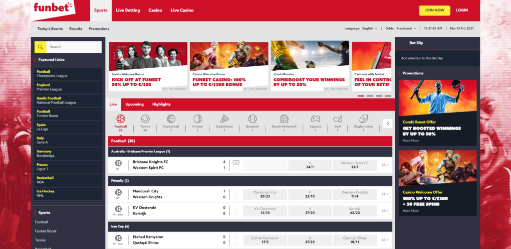 Funbet main page.