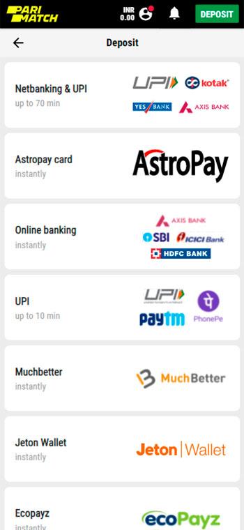 Choose payment service on at parimach.