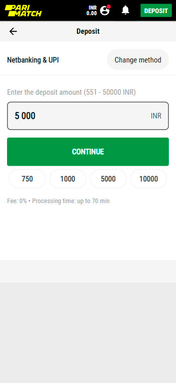 enter amount of deposit money.