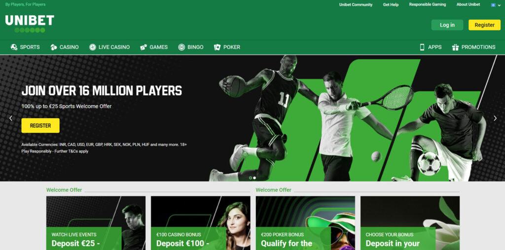 Unibet main page.