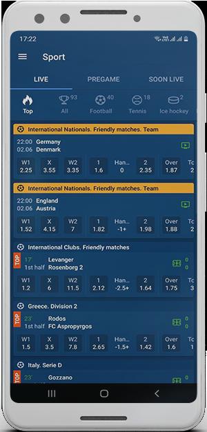 Mobile betting platform Mostbet.