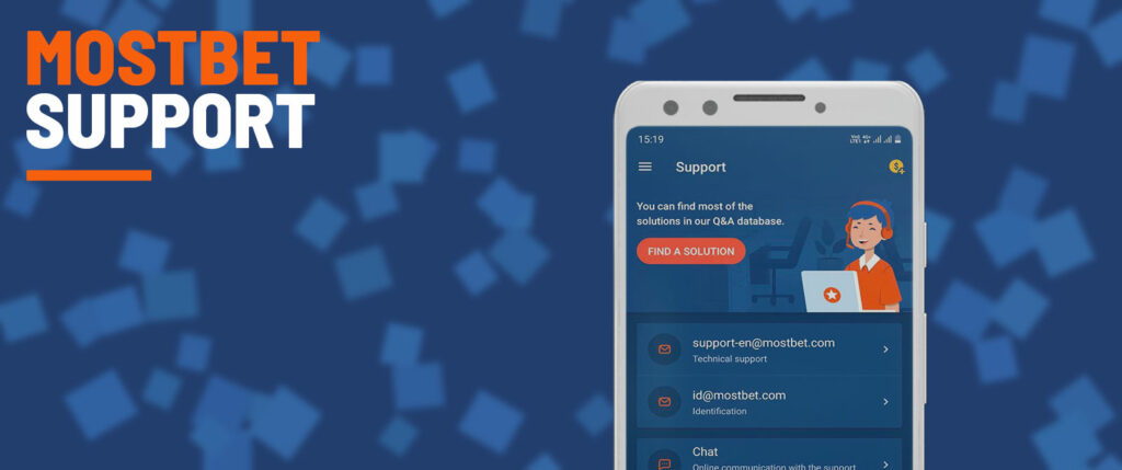 Support service by Mostbet.
