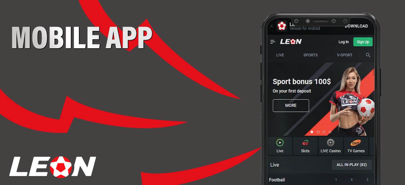 Mobile app on Leonbet.