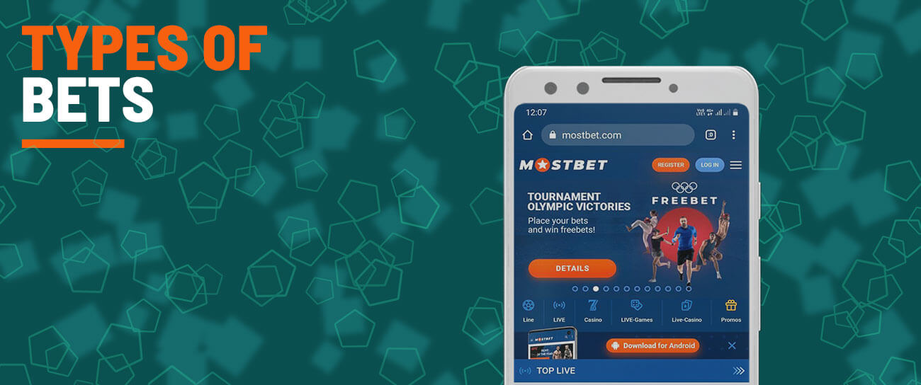 Types of bets on Mostbet.