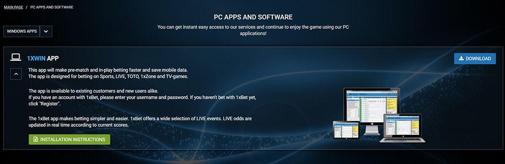 1xbet app menu