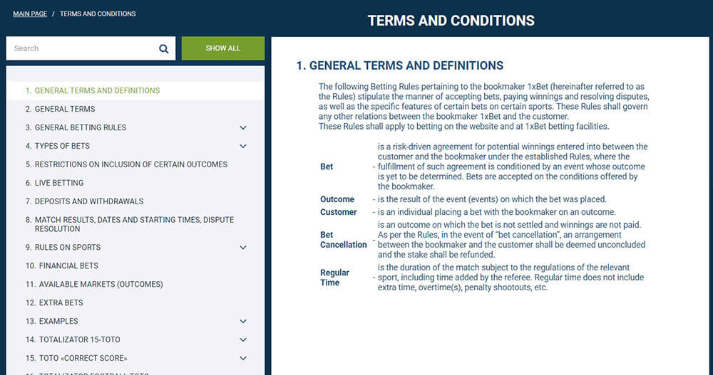1xbet terms