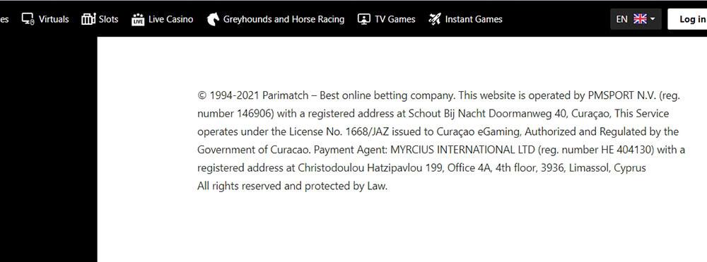 Parimatch license