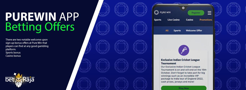 Purewin app betting offers.